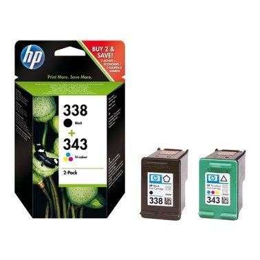Inkcartridge HP SD449EE 338 + 343 duopack zwart + kleur