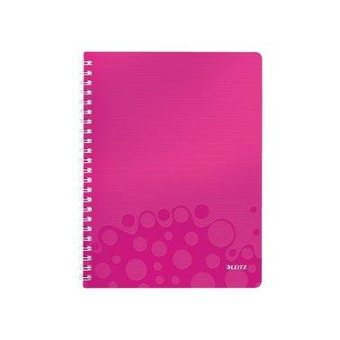 Notitieboek Leitz WOW A4 spiraal PP lijn roze