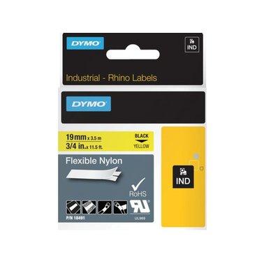 Labeltape Dymo Rhino 18491 nylon 19mmx3.5m zwart op geel
