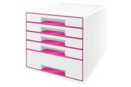 Ladenbox Leitz 5214 WOW 5 laden wit/roze