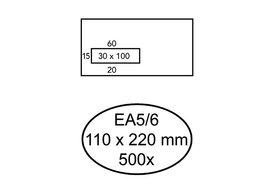 Envelop Hermes Digital EA5/6 110x220mm venster 3x10links zel