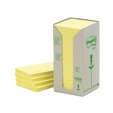 Memoblok 3M Post-it 654-1T 76x76mm 16 stuks recycled geel