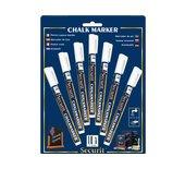 Krijtstift Securit SMA-100 rond wit 1-2mm blister à 7st