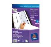 Tabbladen Avery 9-gaats 01638061 6-delig wit printbare tabs