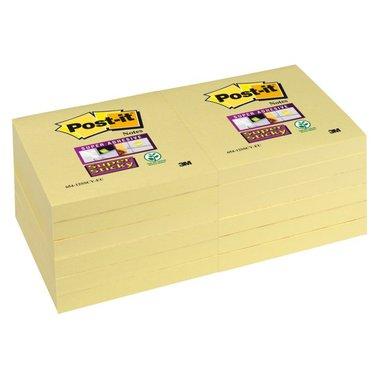 Memoblok 3M Post-it 654-SSY Super Sticky 76x76mm geel