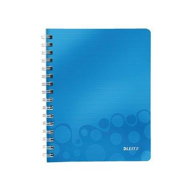 Notitieboek Leitz WOW A5 spiraal PP lijn blauw