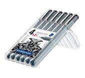 Fineliner Staedtler Pigment 308 zwart set 4+2 gratis
