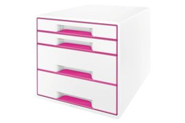 Ladenbox Leitz 5213 WOW 4 laden wit/roze