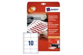 Badgekaart Avery L4727-20 54x90mm microperforatie