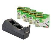 Plakbandhouder Scotch C38 + 4rol magic tape 19mmx33m zwart