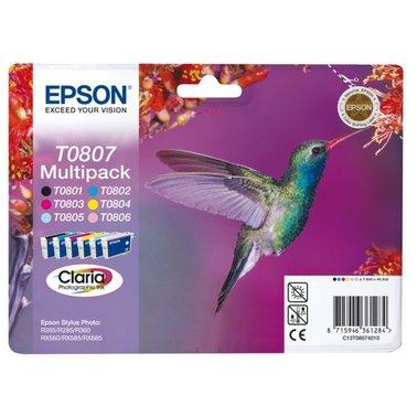 Inkcartridge Epson T0807 zwart + 5 kleuren