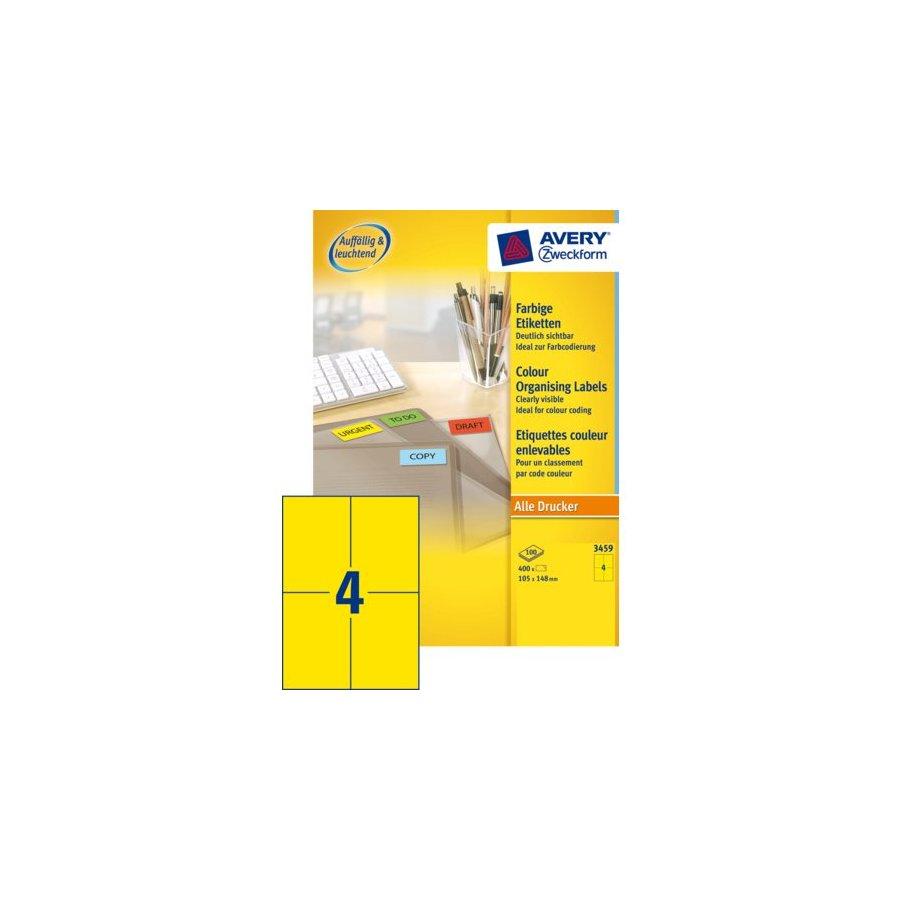 Etiket avery zweckform 3459 105x148mm a6 geel 400stuks for Avery etiketten