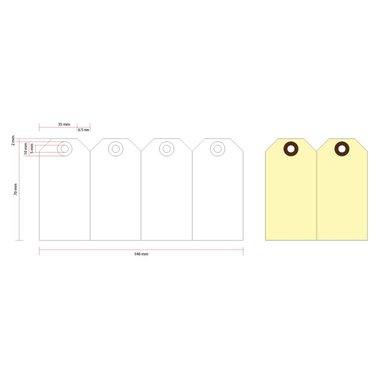Label karton nr1 200gr 35x70mm geel 1000stuks