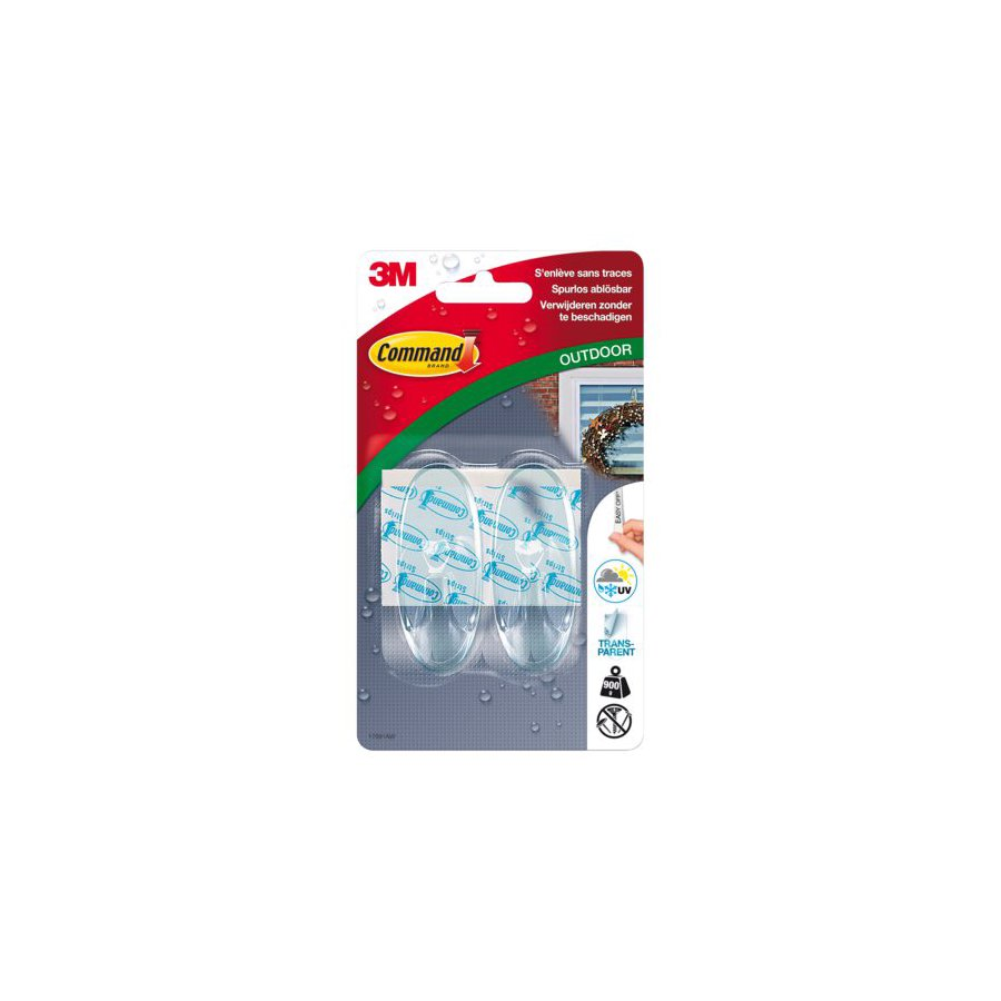 Bande adh sive 3m command 17091clr 2 crochets ovales - Bande adhesive murale ...
