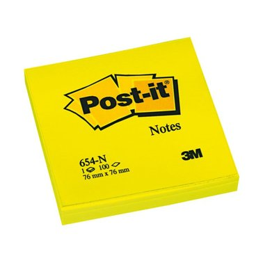 Memoblok 3M Post-it 654-NGE 76x76mm neon geel