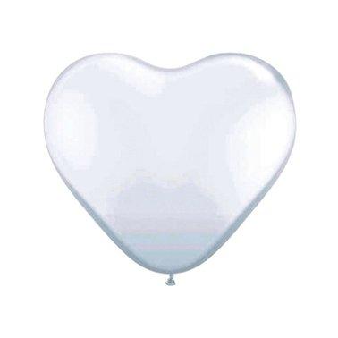 Ballonnen Folat hart wit 8stuks 30cm