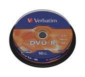 DVD-R Verbatim 4,7GB 16X spindel 10stuks