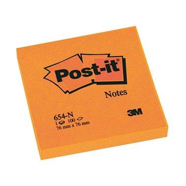 Memoblok 3M Post-it 654-NOR 76x76mm neon oranje