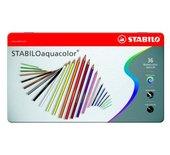 Kleurpotloden Stabilo Aquacolor 36stuks metalen etui assorti